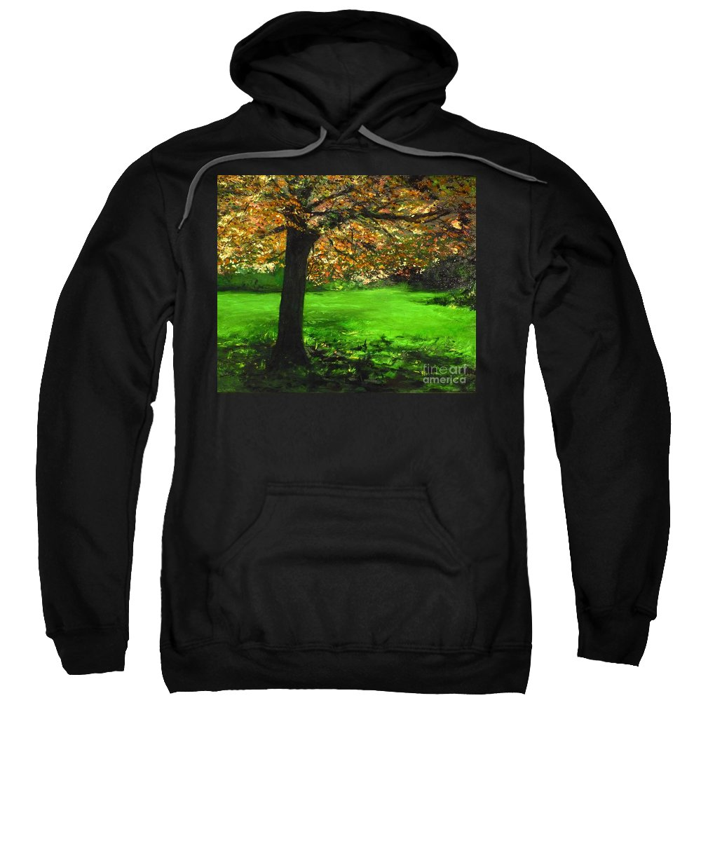 Spiritualism Sweatshirt featuring the painting My Love Of Trees I by Lizzy Forrester