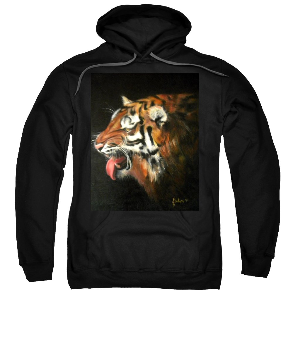 Tiger Sweatshirt featuring the painting My Tiger - The Year Of The Tiger by Jordana Sands