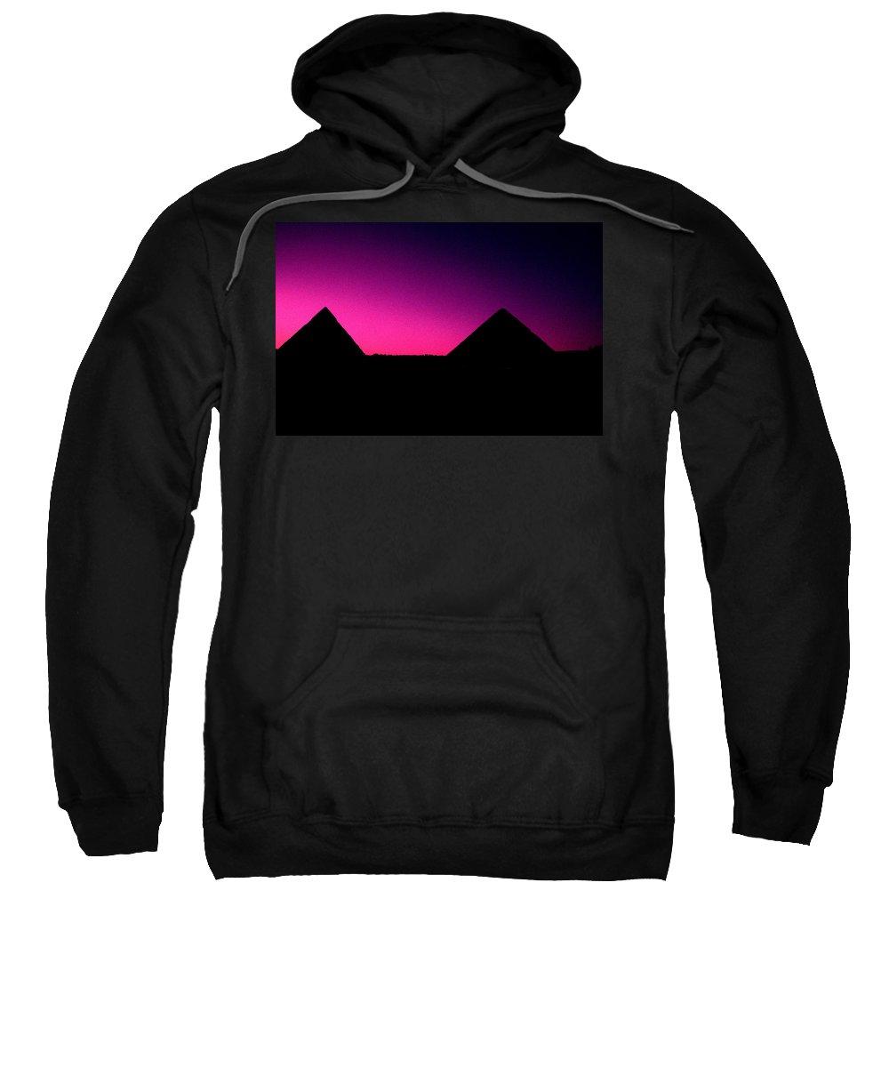 Pyramids Sweatshirt featuring the photograph The Pyramids At Sundown by Gary Wonning