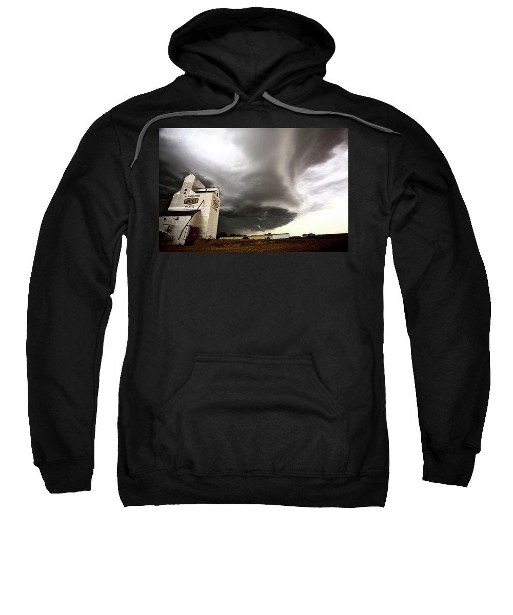 Grain Elevator Sweatshirt featuring the digital art Nasty Looking Cumulonimbus Cloud Behind Grain Elevator by Mark Duffy