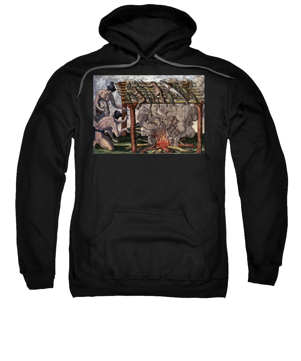 1591 Sweatshirt featuring the photograph Native American Barbecue by Granger