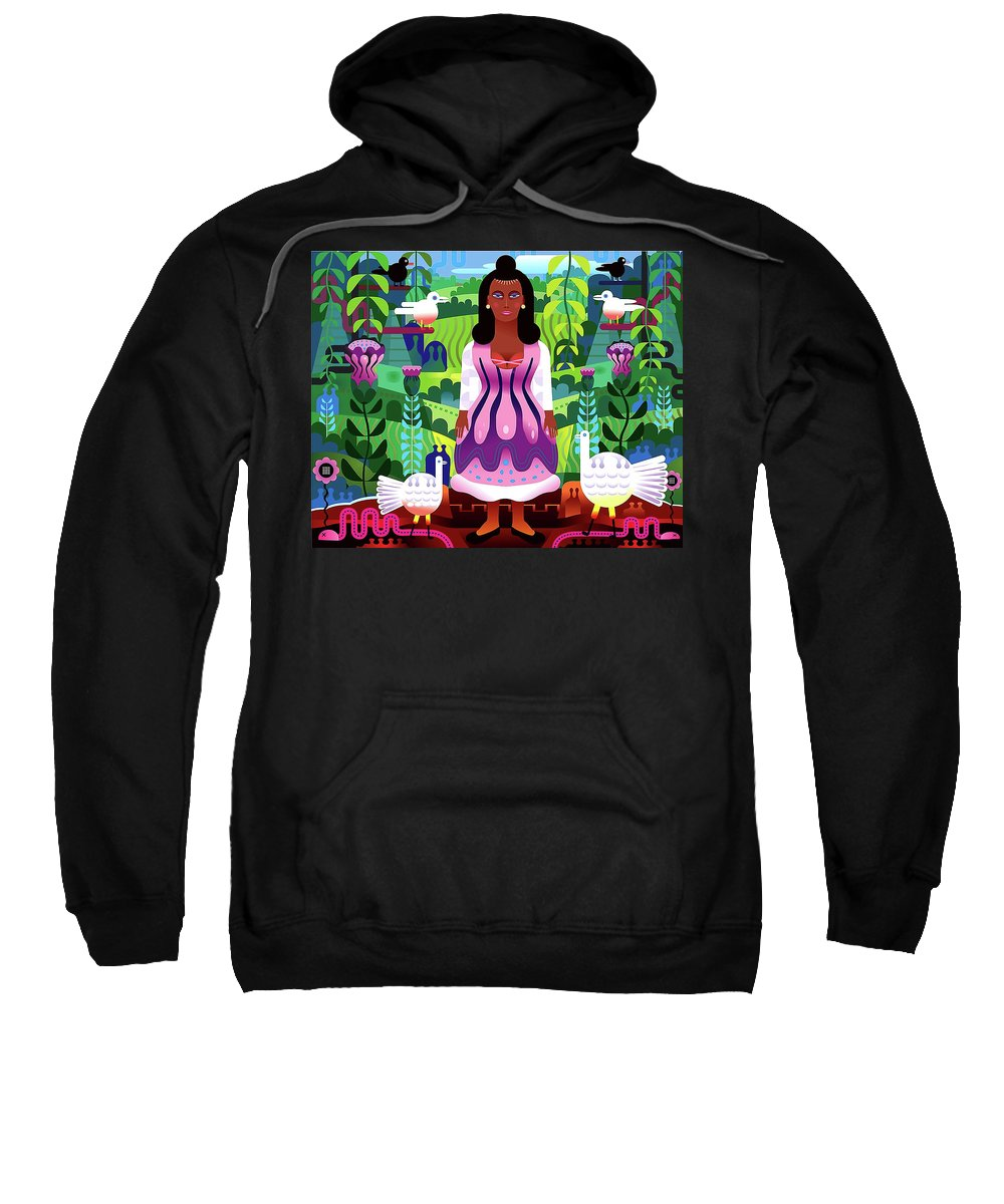 Nature Mexico Green Purple Red Vector Jungle Woman Abstract Geometric Landscape Tree Leave Flower Plant Color Sweatshirt featuring the digital art Nature Abstract by Nini Pakempitan