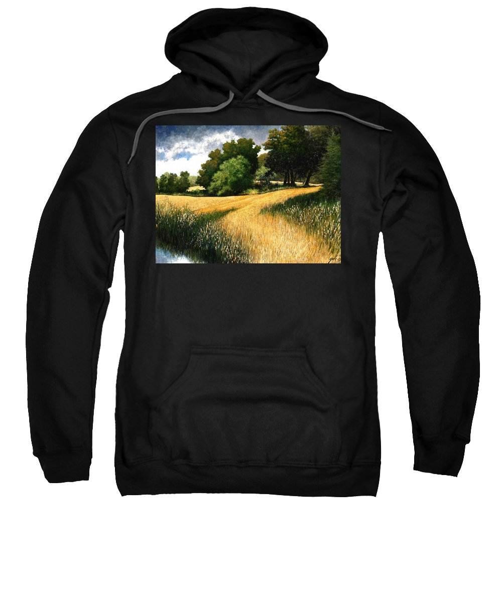 Landscape Sweatshirt featuring the painting Nature Walk Ridgefield Washington by Jim Gola