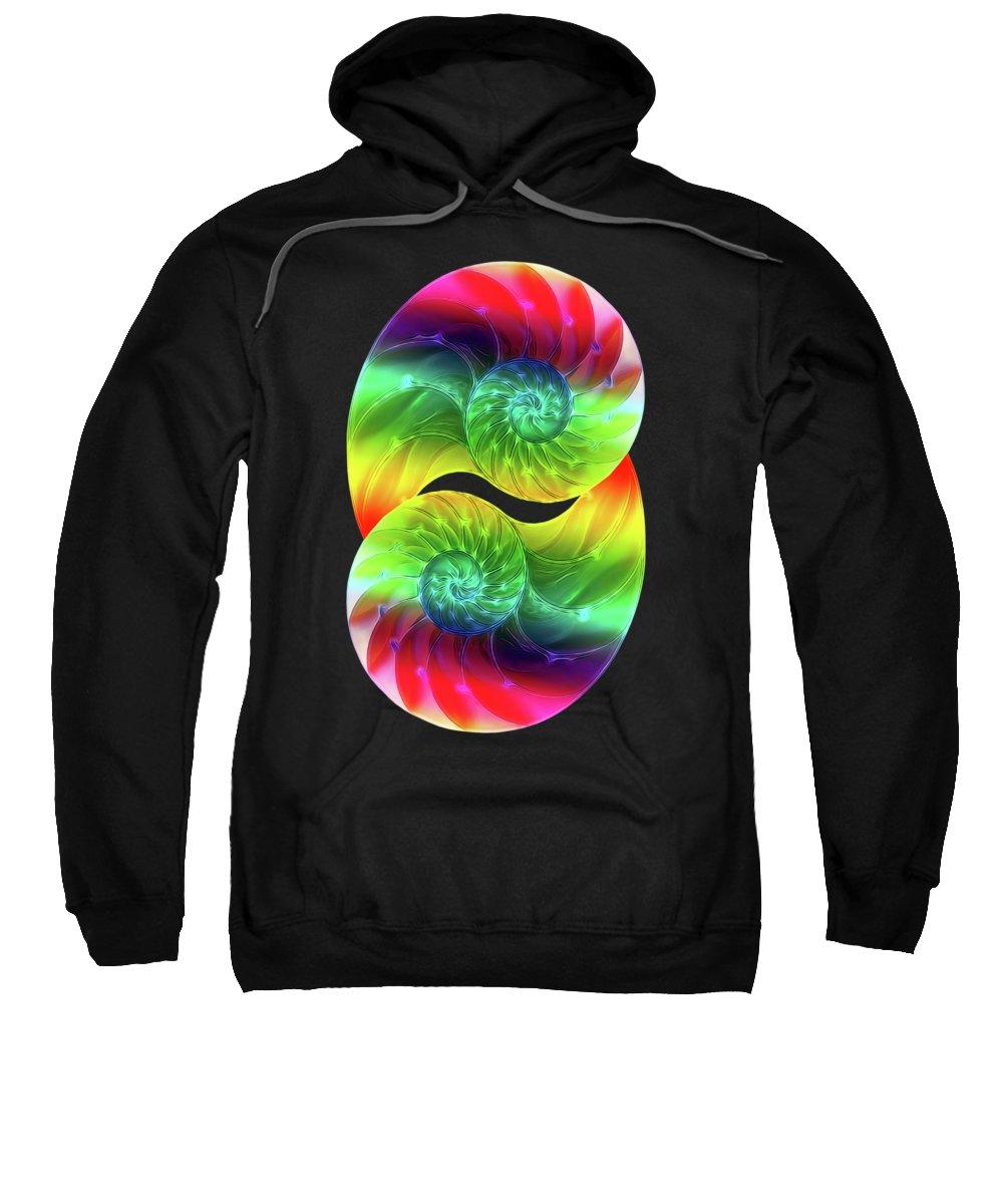 Nautilus Shell Sweatshirt featuring the photograph Nautilus Rainbow Vertical by Gill Billington