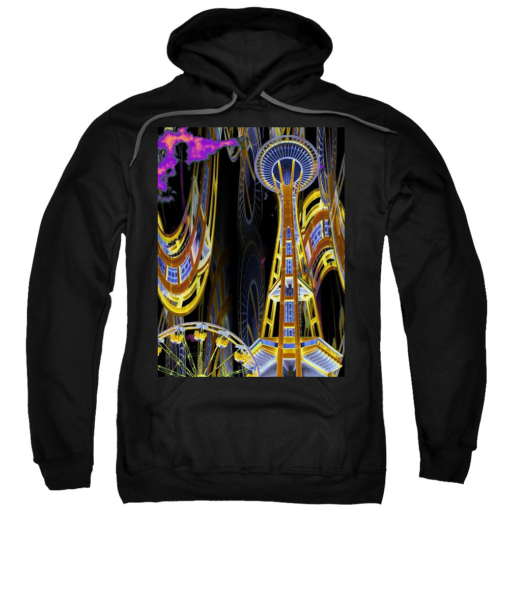 Seattle Sweatshirt featuring the digital art Needle And Ferris Wheel by Tim Allen