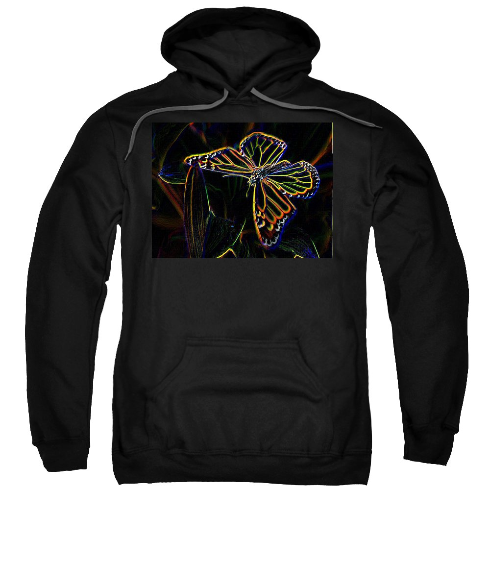 Butterfly Sweatshirt featuring the photograph Neon Butterfly by Tim Allen