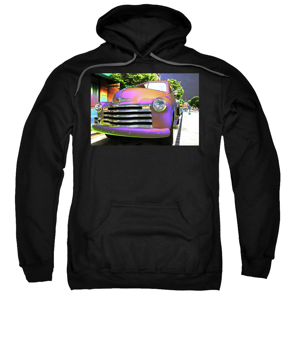 Automobile Sweatshirt featuring the photograph Neon Chev by Karol Livote