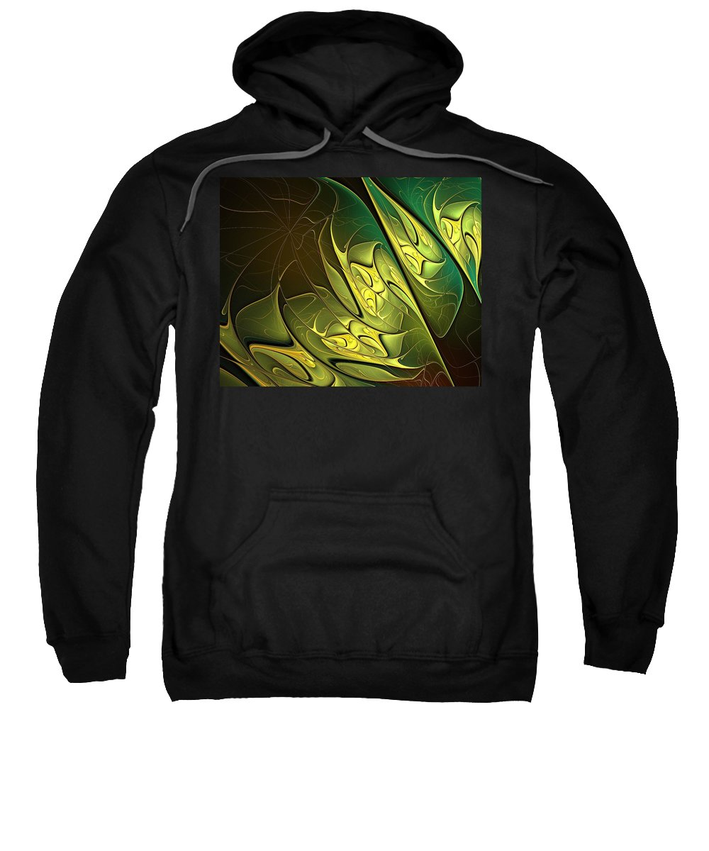 Digital Art Sweatshirt featuring the digital art New Leaves by Amanda Moore