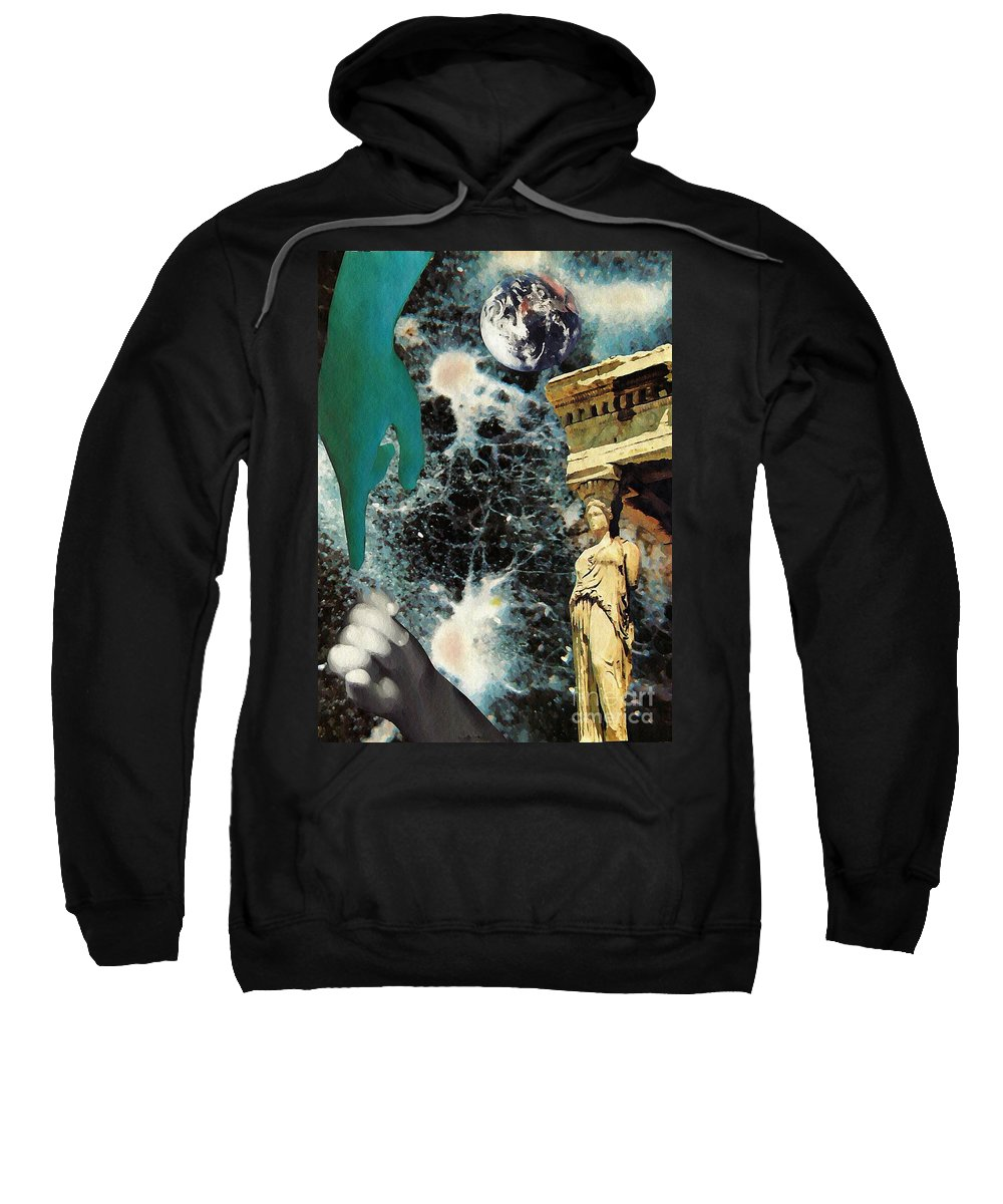 Space Sweatshirt featuring the mixed media New Life In Ancient Time-space by Sarah Loft