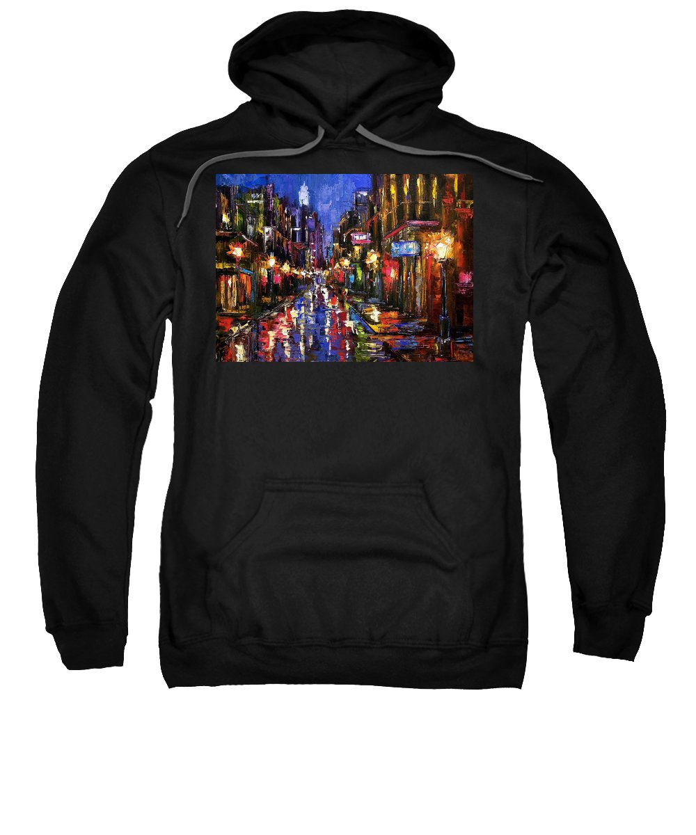 Cityscape Sweatshirt featuring the painting New Orleans Storm by Debra Hurd