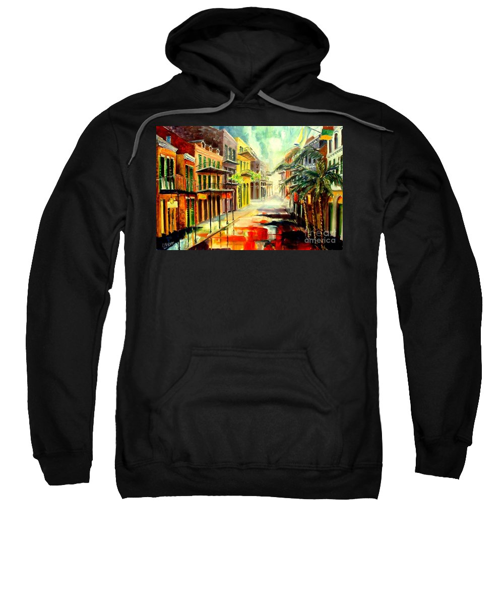 New Orleans Sweatshirt featuring the painting New Orleans Summer Rain by Diane Millsap