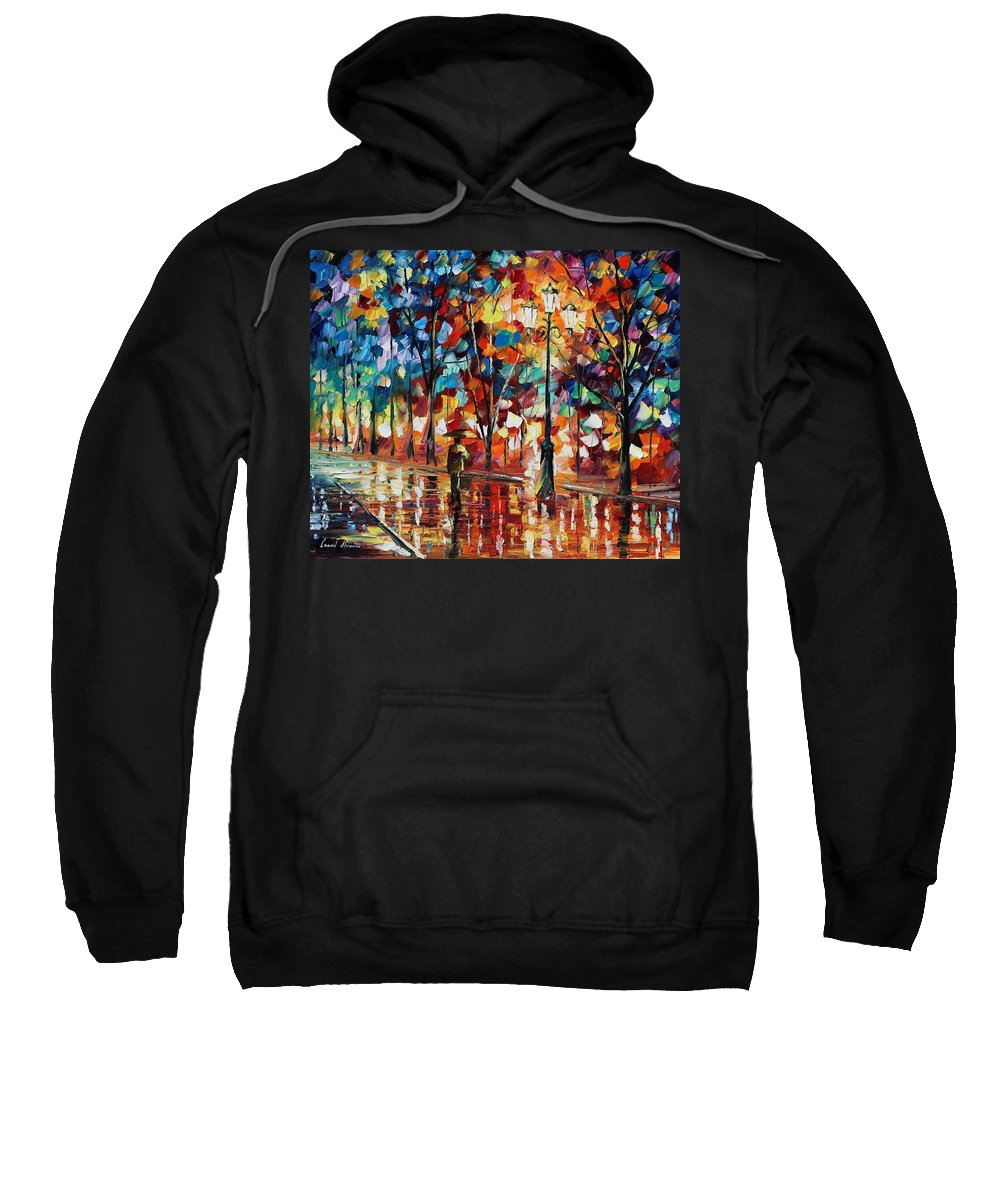 Afremov Sweatshirt featuring the painting New Park by Leonid Afremov