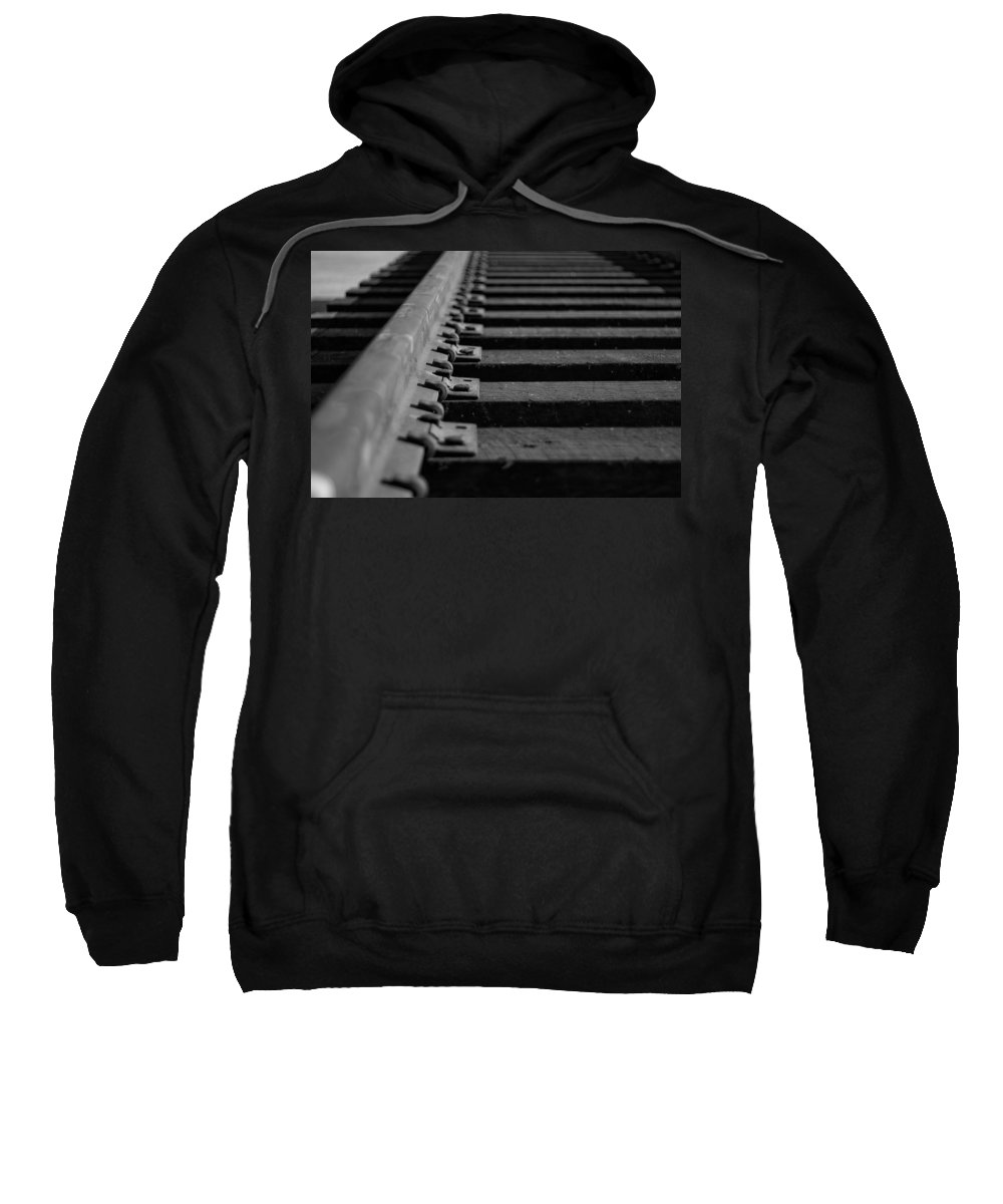 Black And White Photograph Sweatshirt featuring the photograph New Tracks by Mike Oistad