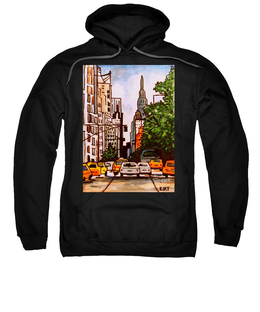 New York Sweatshirt featuring the painting New York City Taxis by Elizabeth Robinette Tyndall