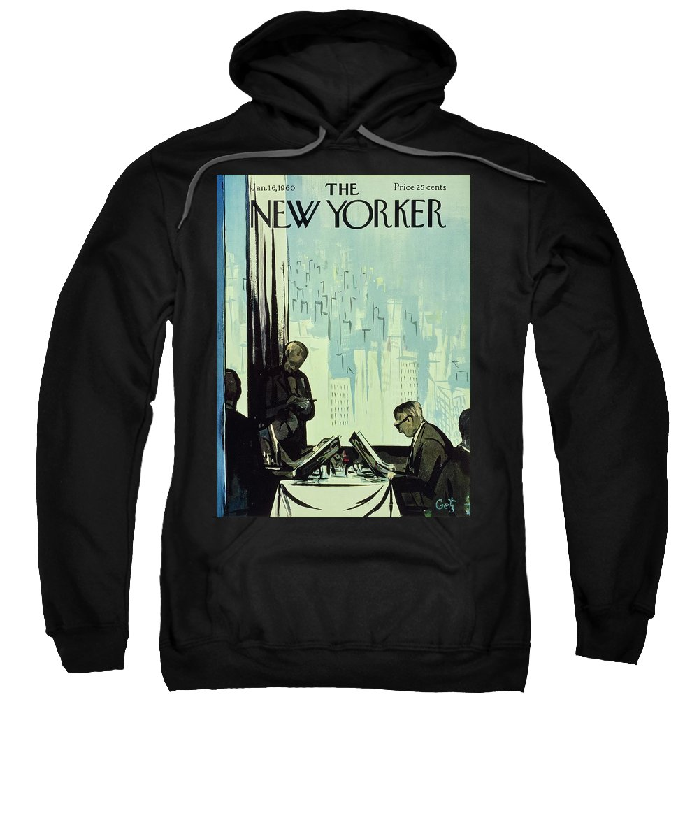 Illustration Sweatshirt featuring the painting New Yorker January 16 1960 by Arthur Getz