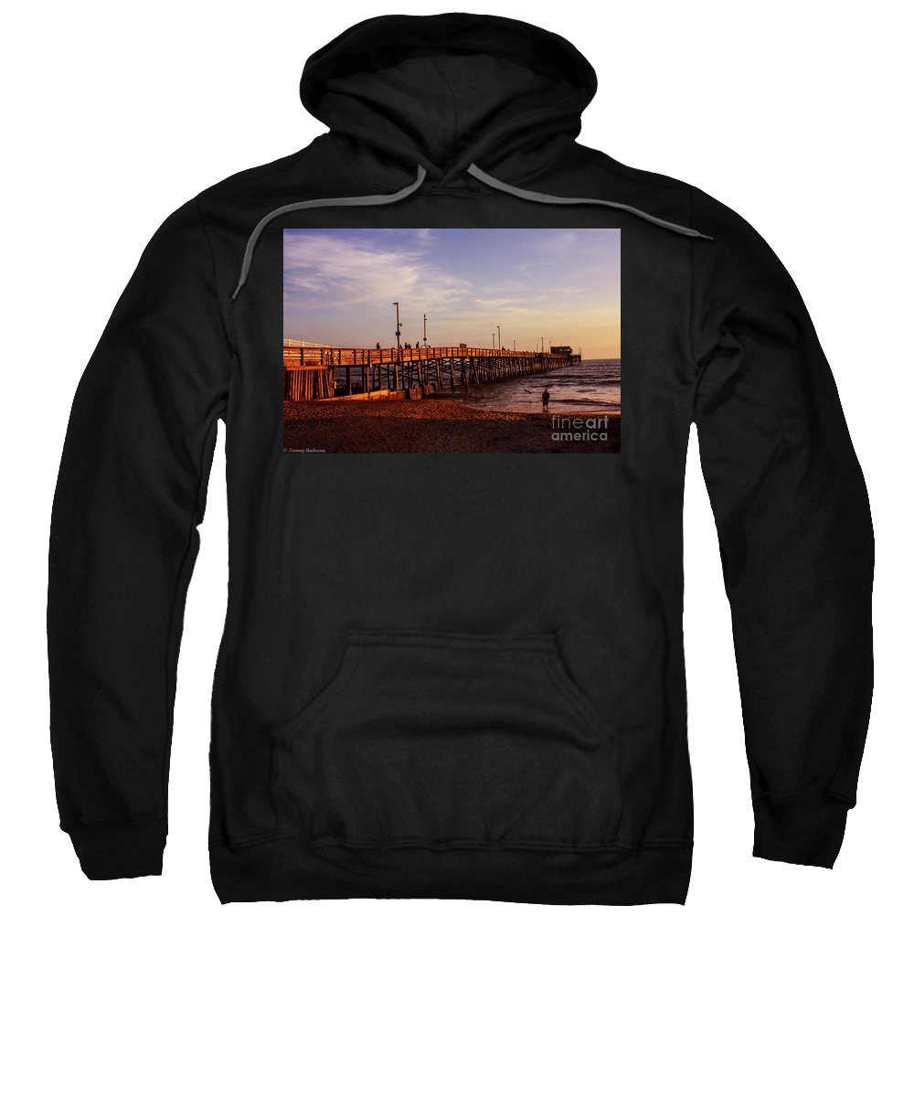Newport Beach Sweatshirt featuring the photograph Newport Beach Glow by Tommy Anderson