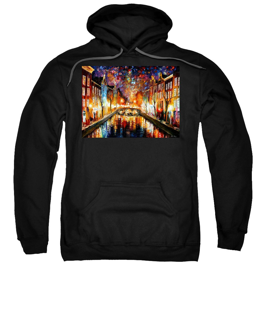 Afremov Sweatshirt featuring the painting Night Amsterdam by Leonid Afremov
