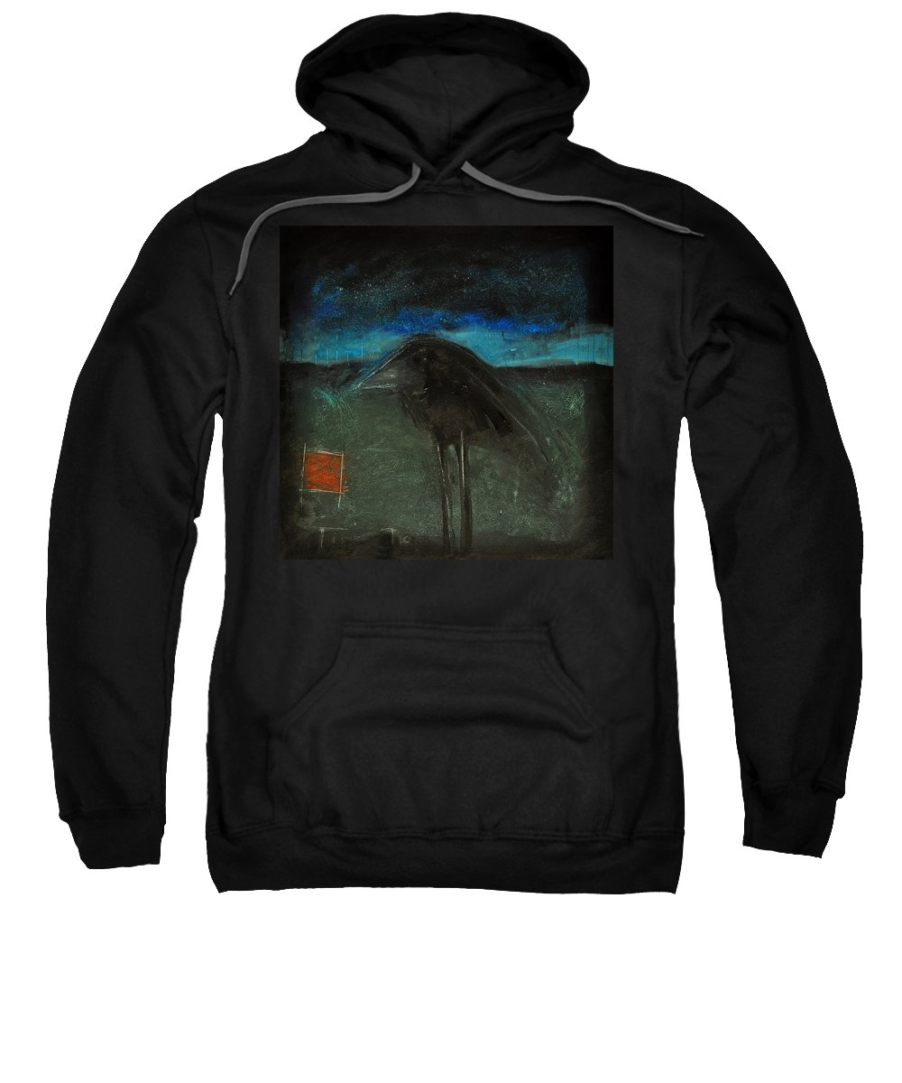 Bird Sweatshirt featuring the painting Night Bird With Red Square by Tim Nyberg