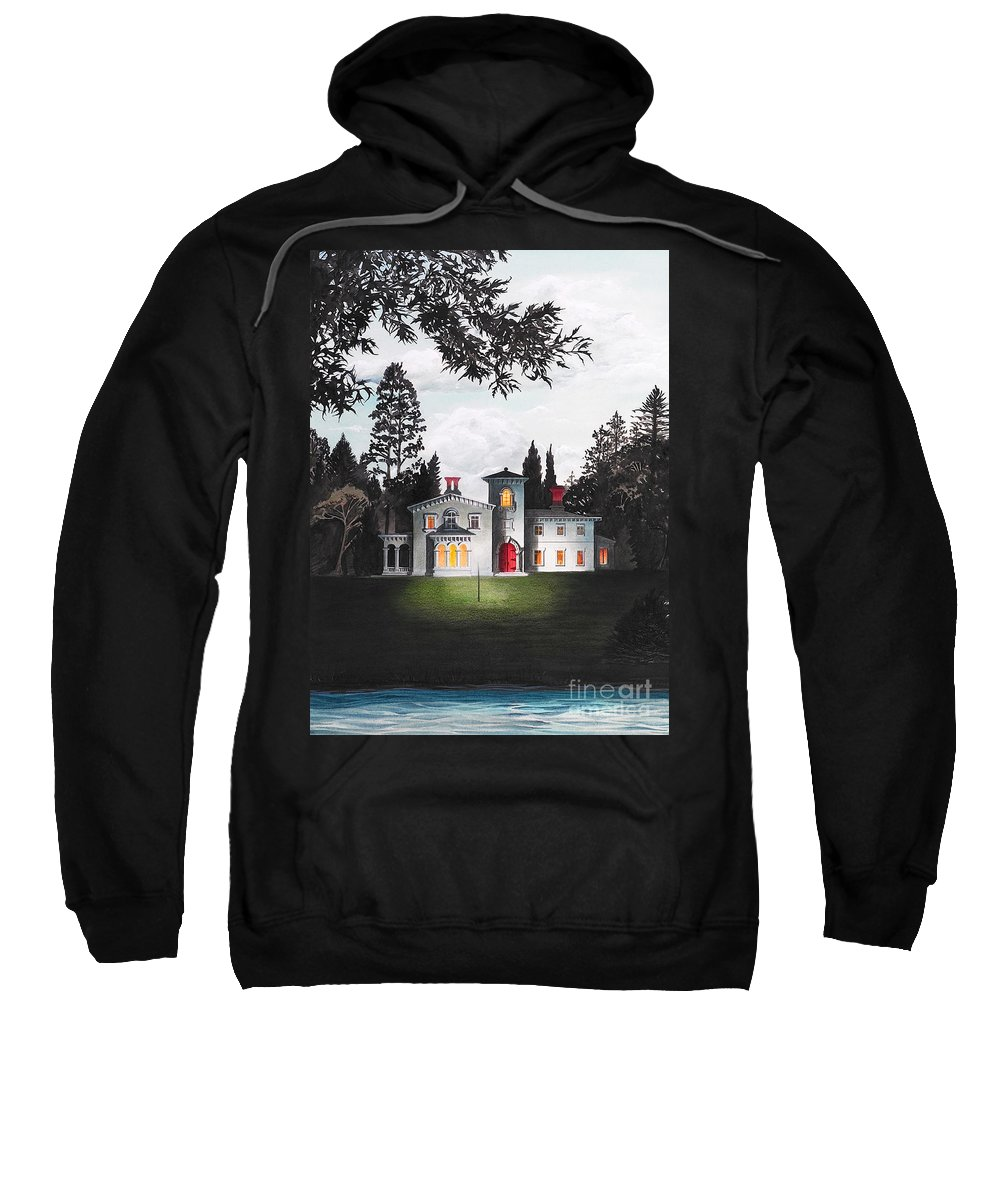 Architecture Sweatshirt featuring the drawing Italian House Country House Detail From Night Bridge by Melissa A Benson