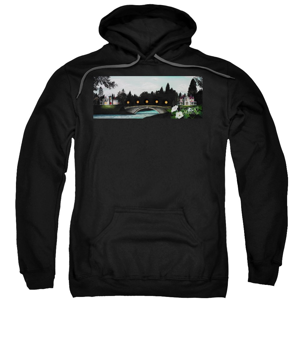 Architecture Sweatshirt featuring the painting Night Bridge by Melissa A Benson