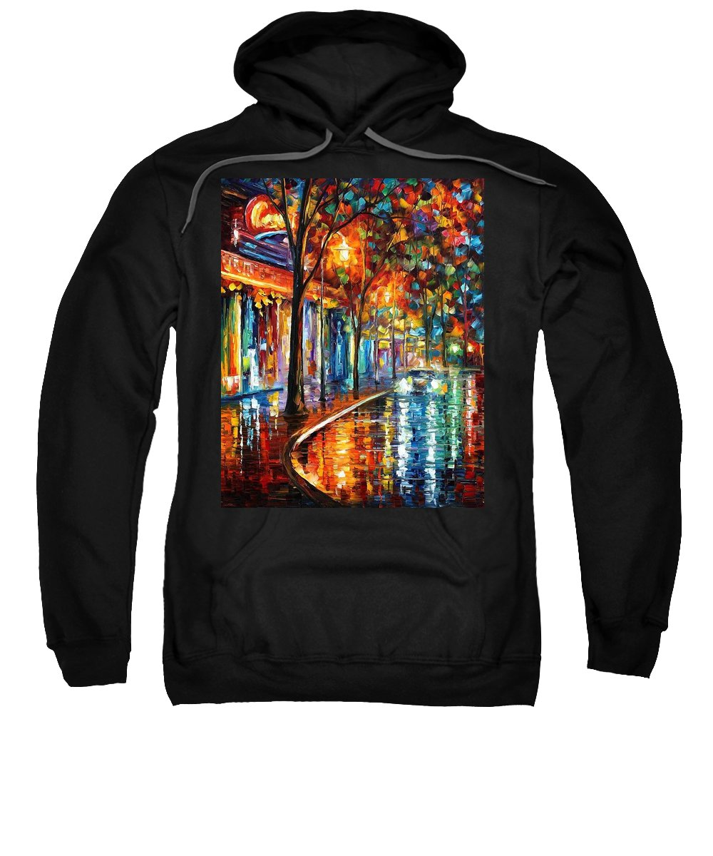 Afremov Sweatshirt featuring the painting Night Cafe by Leonid Afremov
