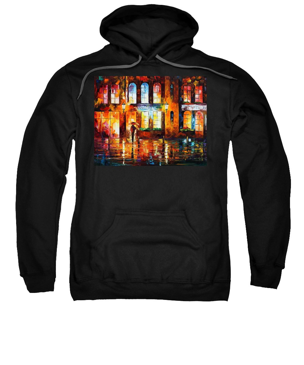 Afremov Sweatshirt featuring the painting Night City by Leonid Afremov