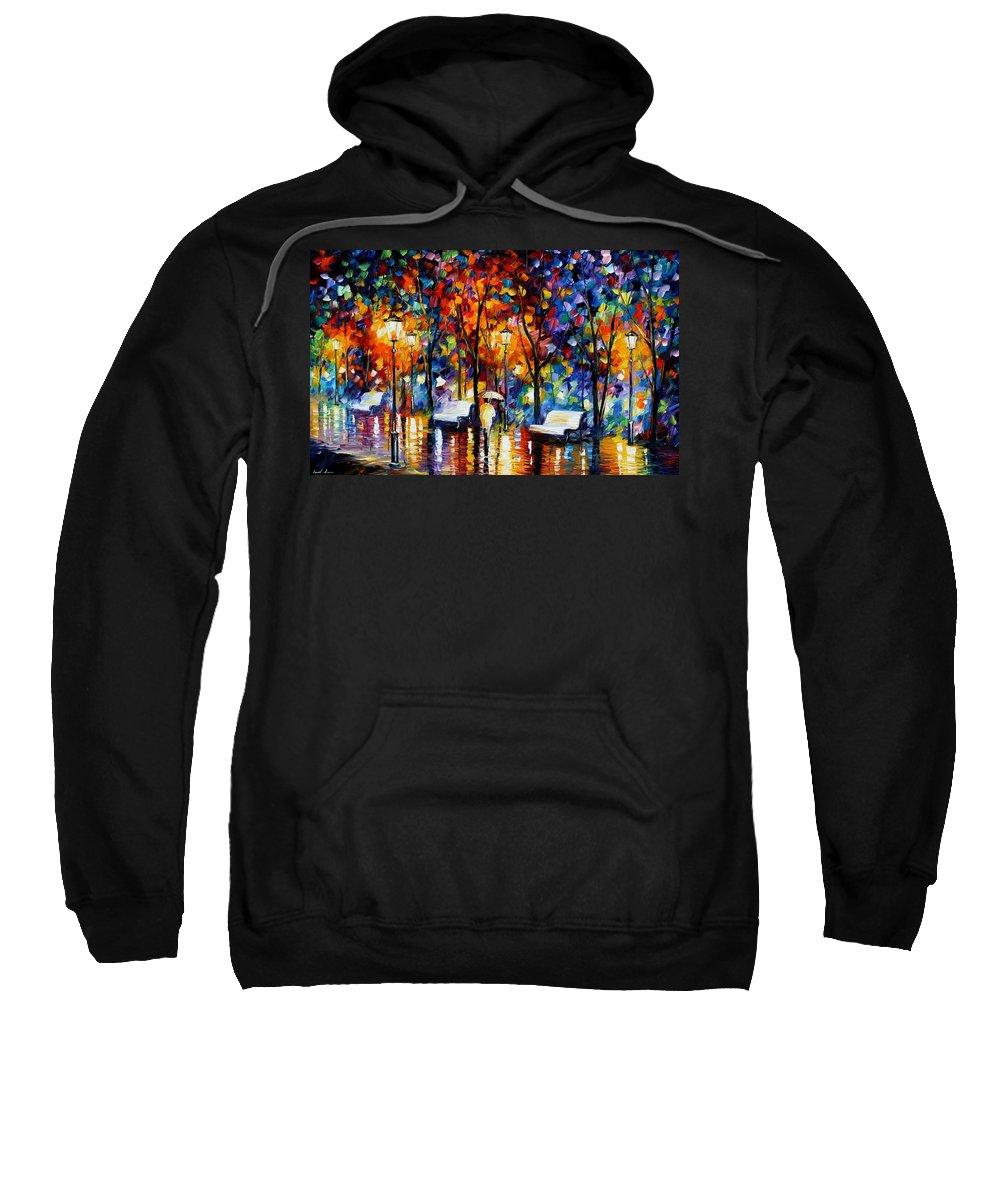 Afremov Sweatshirt featuring the painting Night Copenhagen by Leonid Afremov