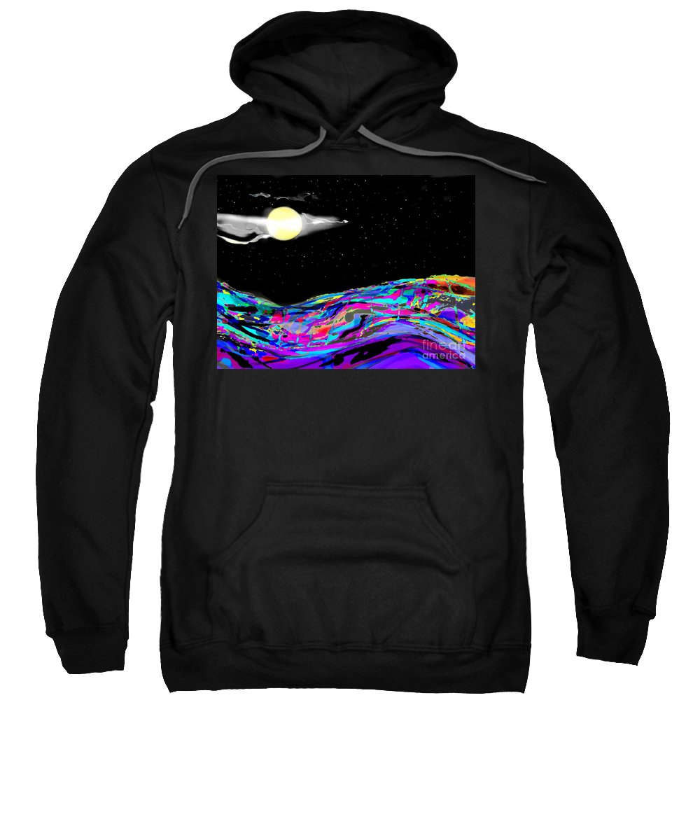 White Cap Toppped Rolling Sea Sweatshirt featuring the digital art Night Dive by Expressionistart studio Priscilla Batzell