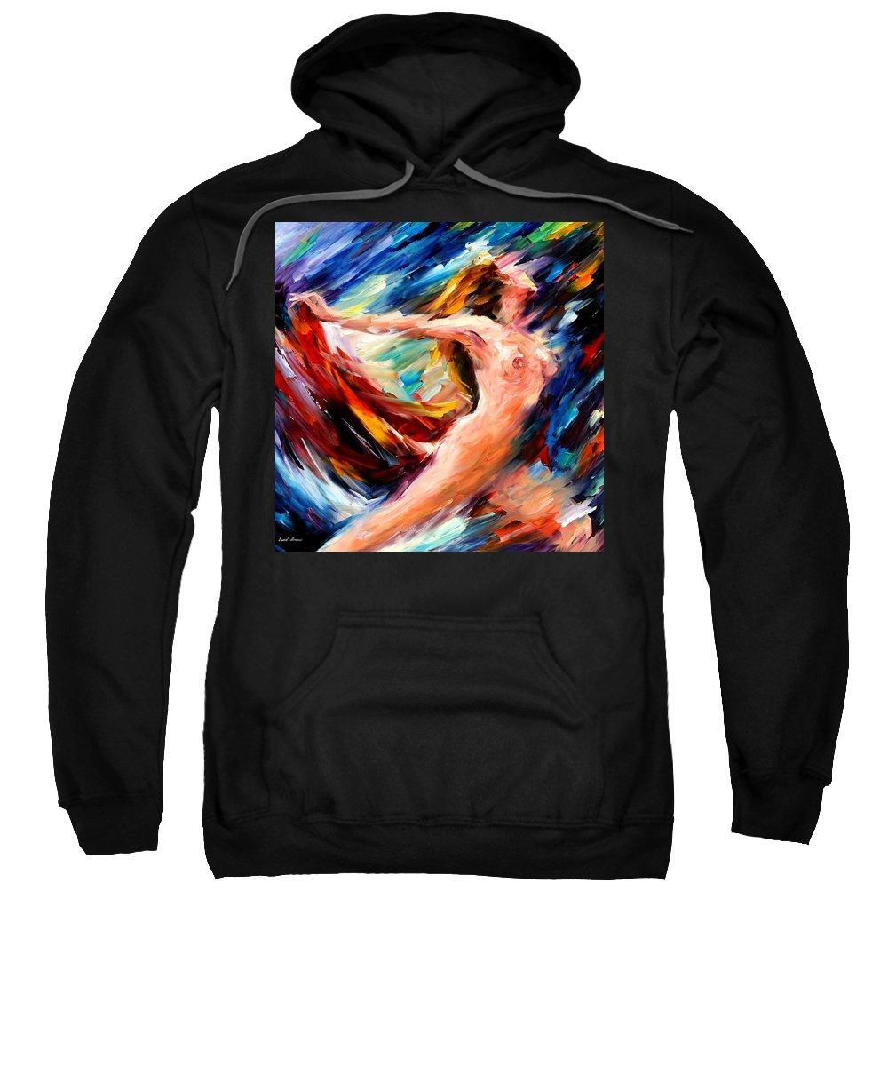 Nude Sweatshirt featuring the painting Night Flight by Leonid Afremov