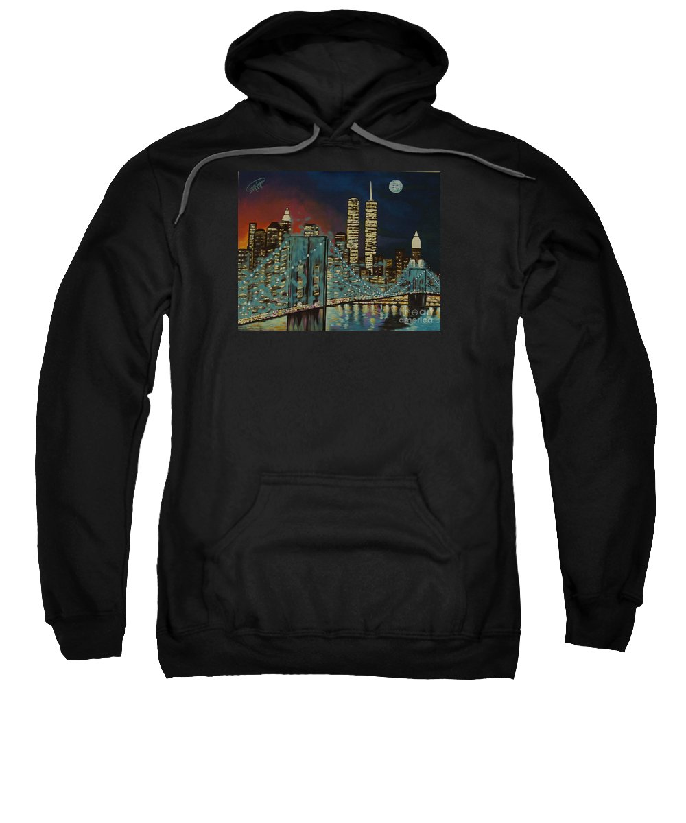 Nyc Sweatshirt featuring the painting Night In Manhattan by Milagros Palmieri