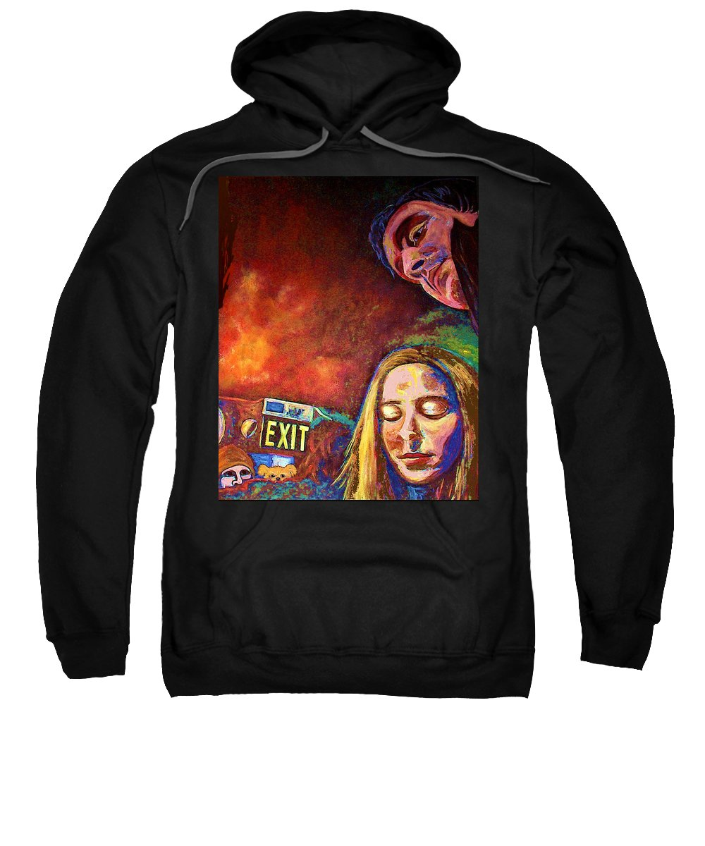 Girl Portrait Sweatshirt featuring the painting Night In The City by Frances Gillotti