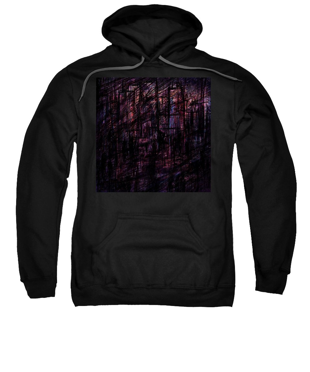 Abstract Sweatshirt featuring the digital art Night Lovers by Rachel Christine Nowicki