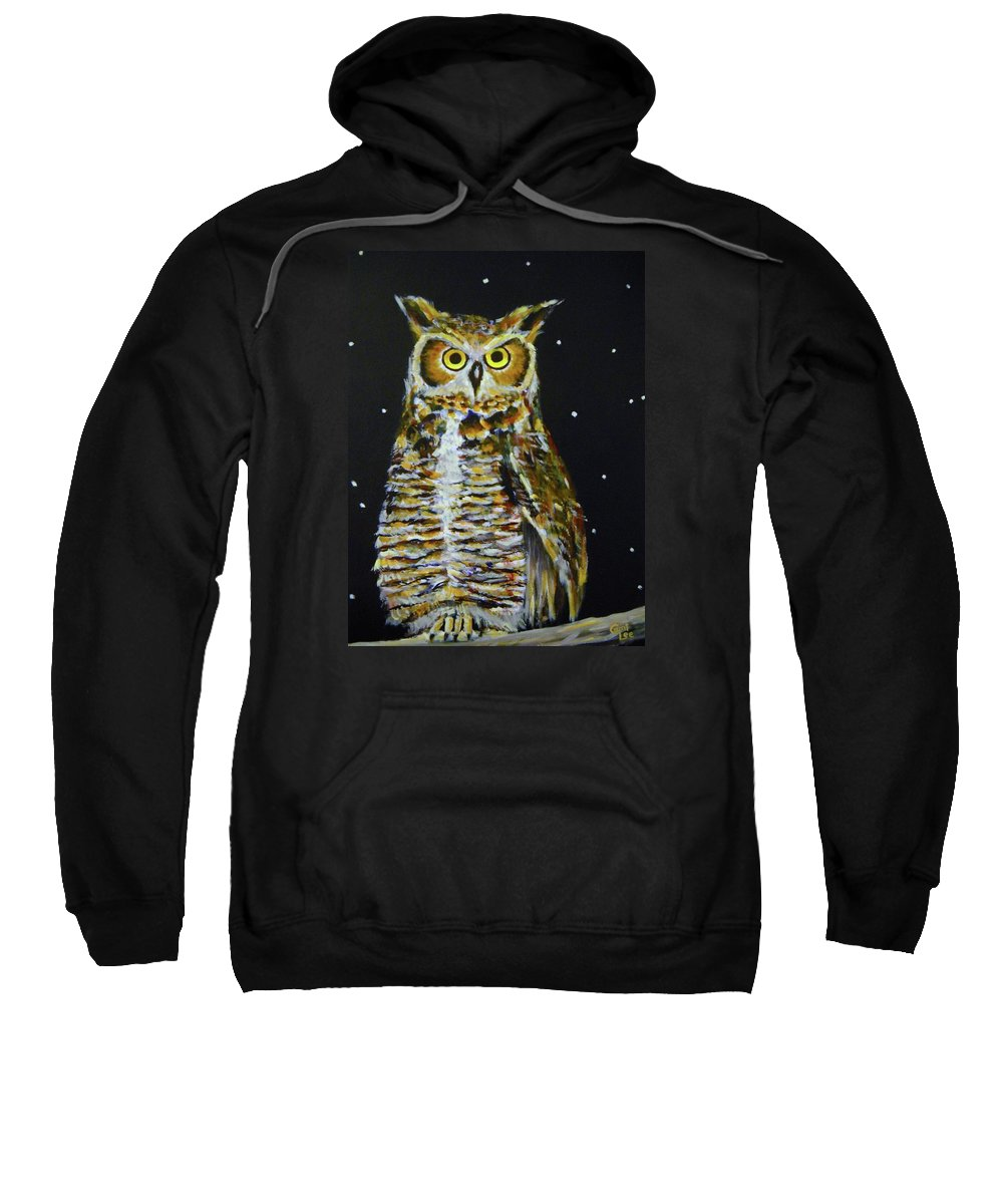 Owl Sweatshirt featuring the painting Night Owl by Cami Lee