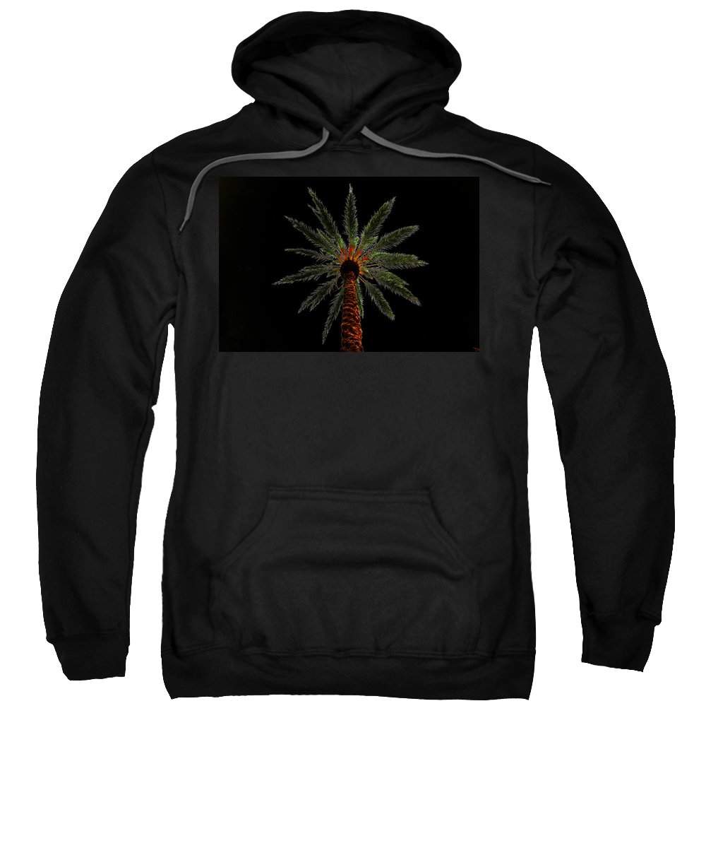 Art Sweatshirt featuring the painting Night Palm by David Lee Thompson