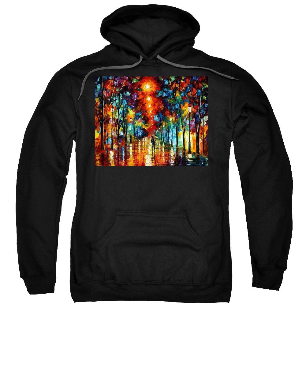 Afremov Sweatshirt featuring the painting Night Park by Leonid Afremov