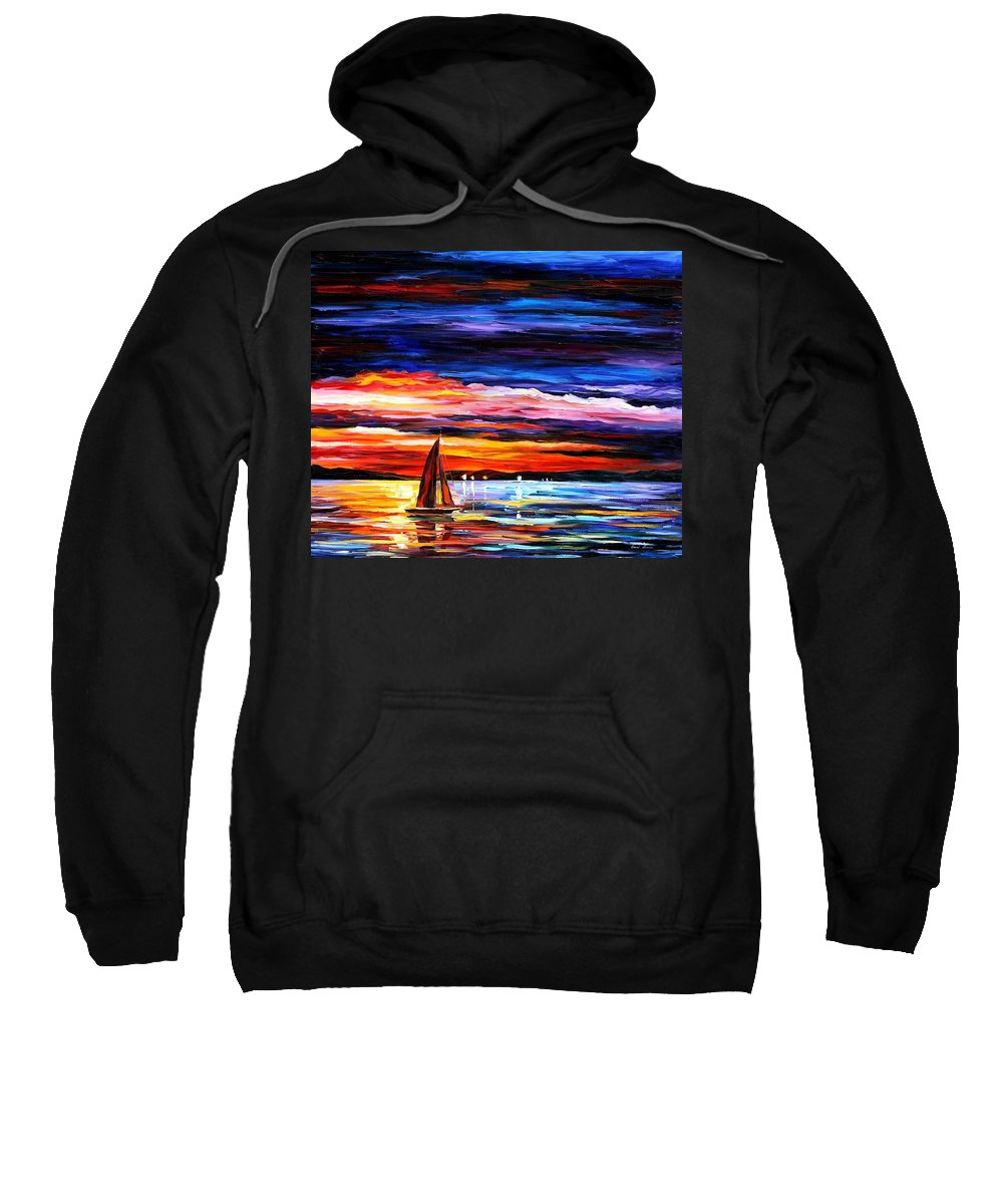 Seascape Sweatshirt featuring the painting Night Sea by Leonid Afremov