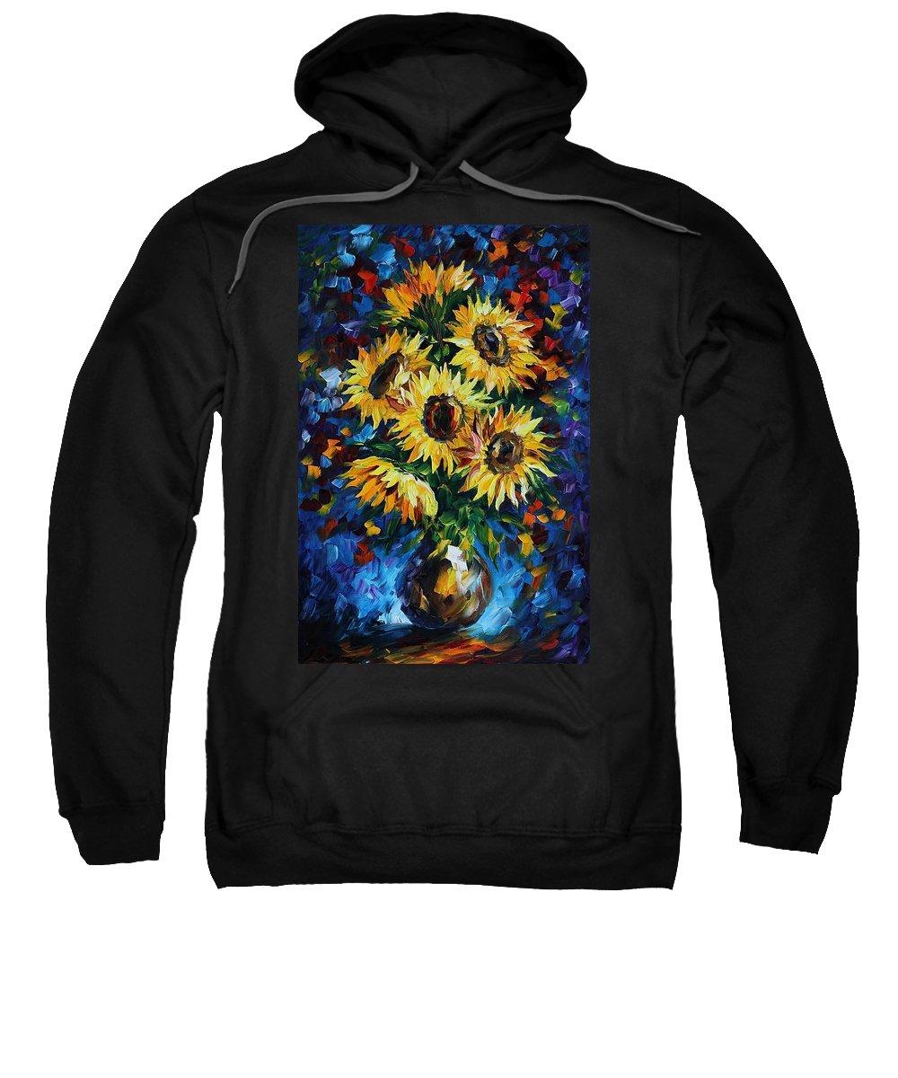 Afremov Sweatshirt featuring the painting Night Sunflowers by Leonid Afremov