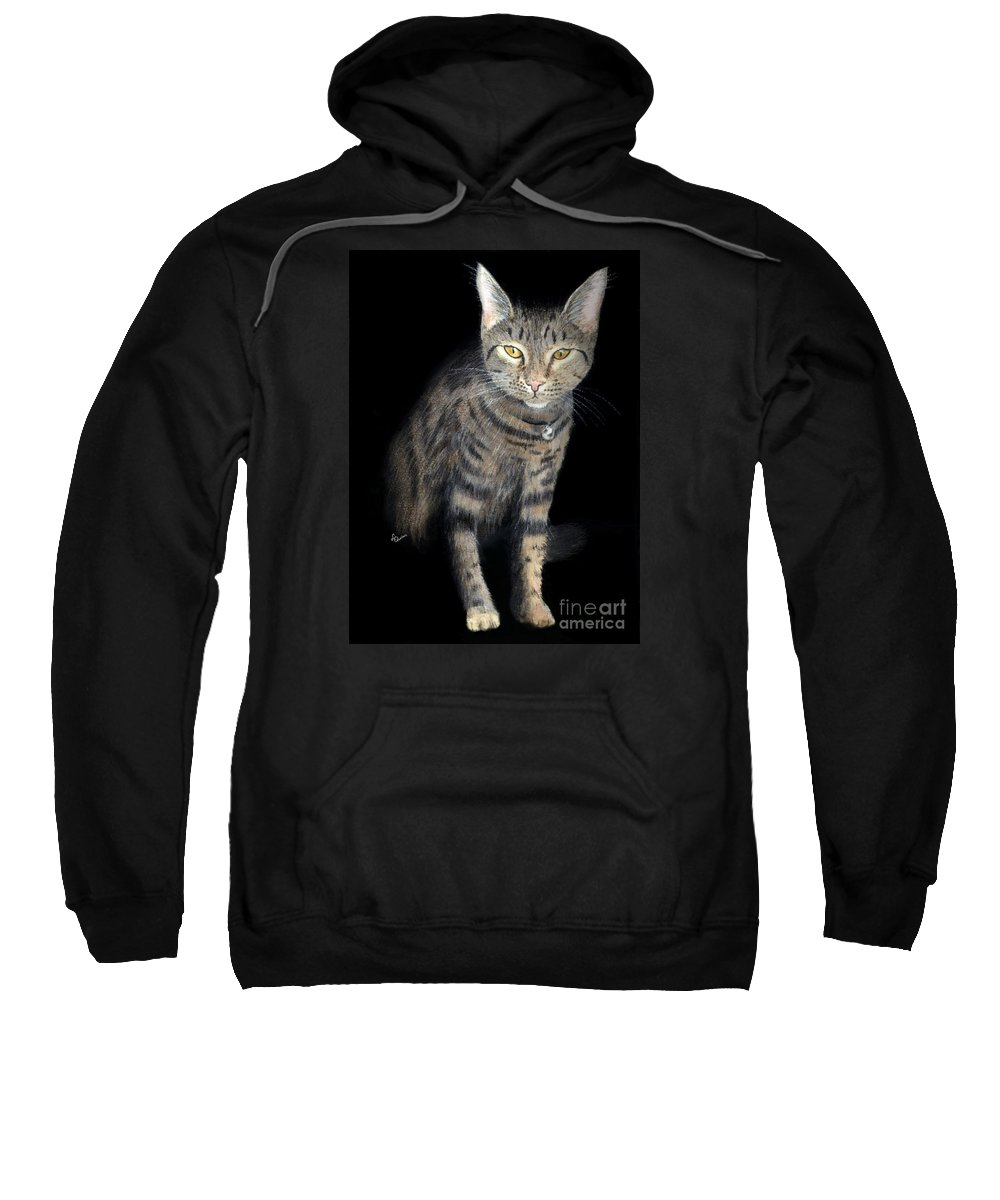 Cat Sweatshirt featuring the painting Night Vision by Lynn Quinn