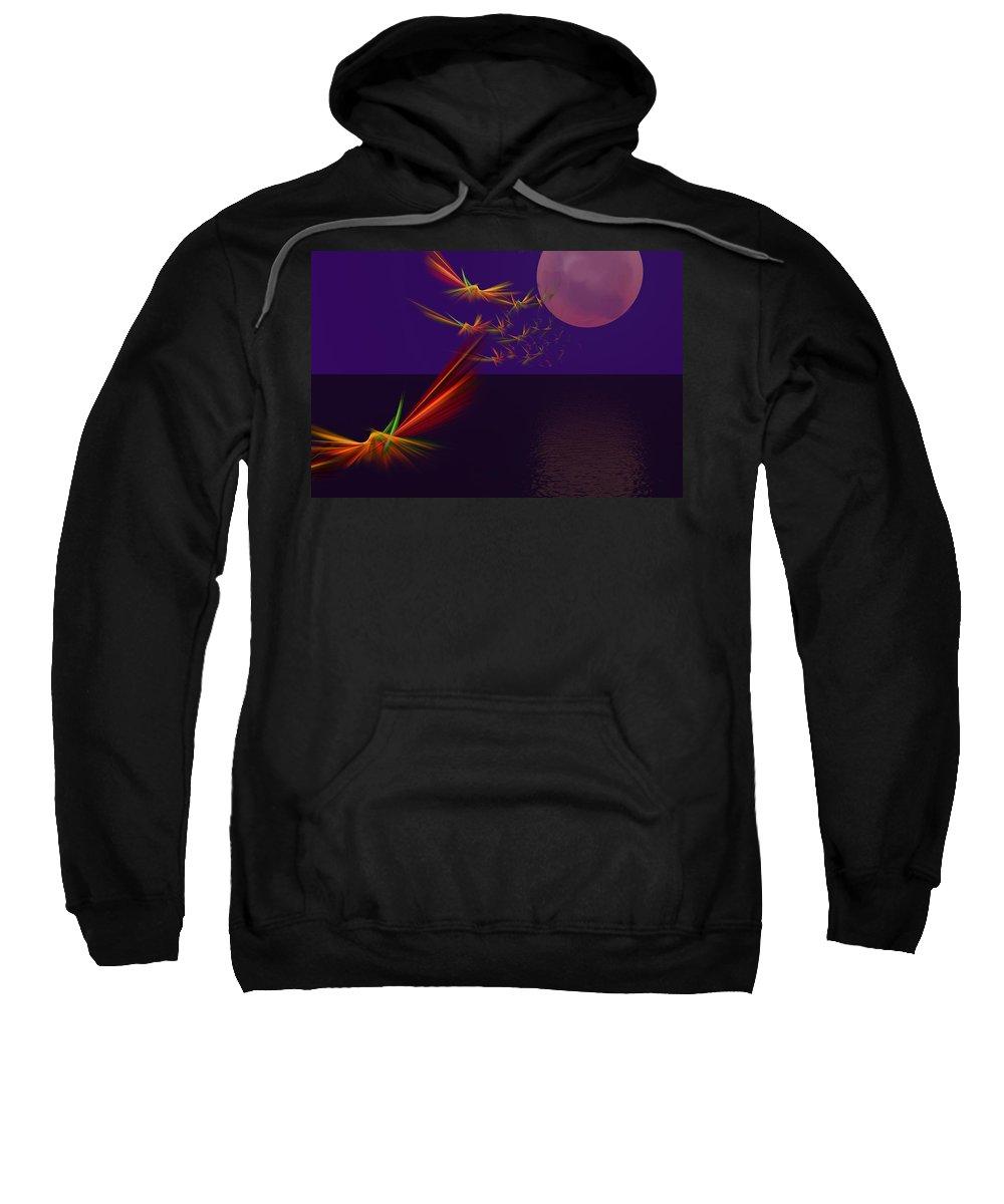 Abstract Digital Photo Sweatshirt featuring the digital art Night Wings by David Lane