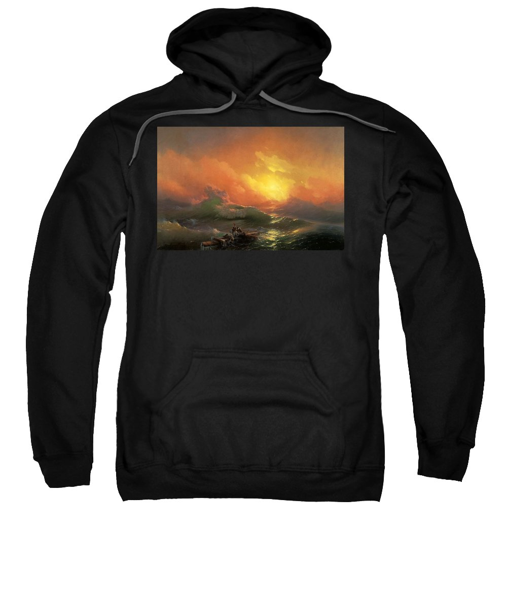 Sunset Sweatshirt featuring the digital art Ninth Wave Ivan Konstantinovich Aivazovsky by Eloisa Mannion