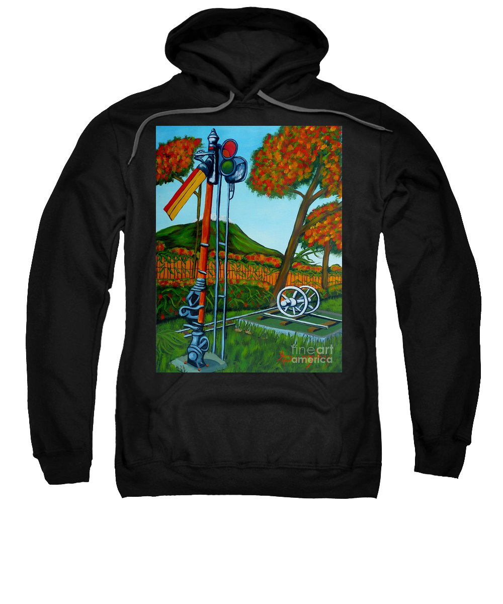 Train Sweatshirt featuring the painting No More Trains by Anthony Dunphy