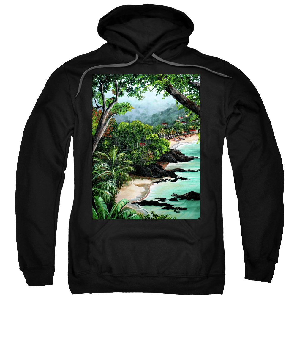 Caribbean Painting Tropical Painting Sweatshirt featuring the painting North Coast Tobago by Karin Dawn Kelshall- Best