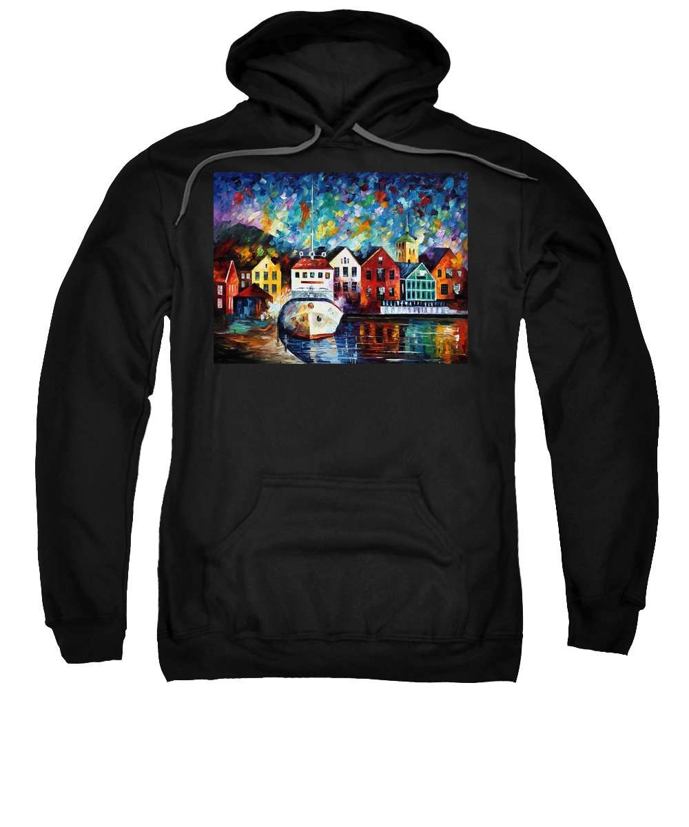 Afremov Sweatshirt featuring the painting North Mood by Leonid Afremov