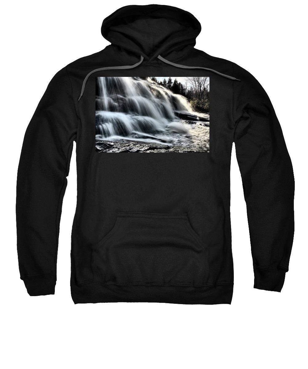 Waterfall Sweatshirt featuring the digital art Northern Michigan Up Waterfalls Bond Falls by Mark Duffy