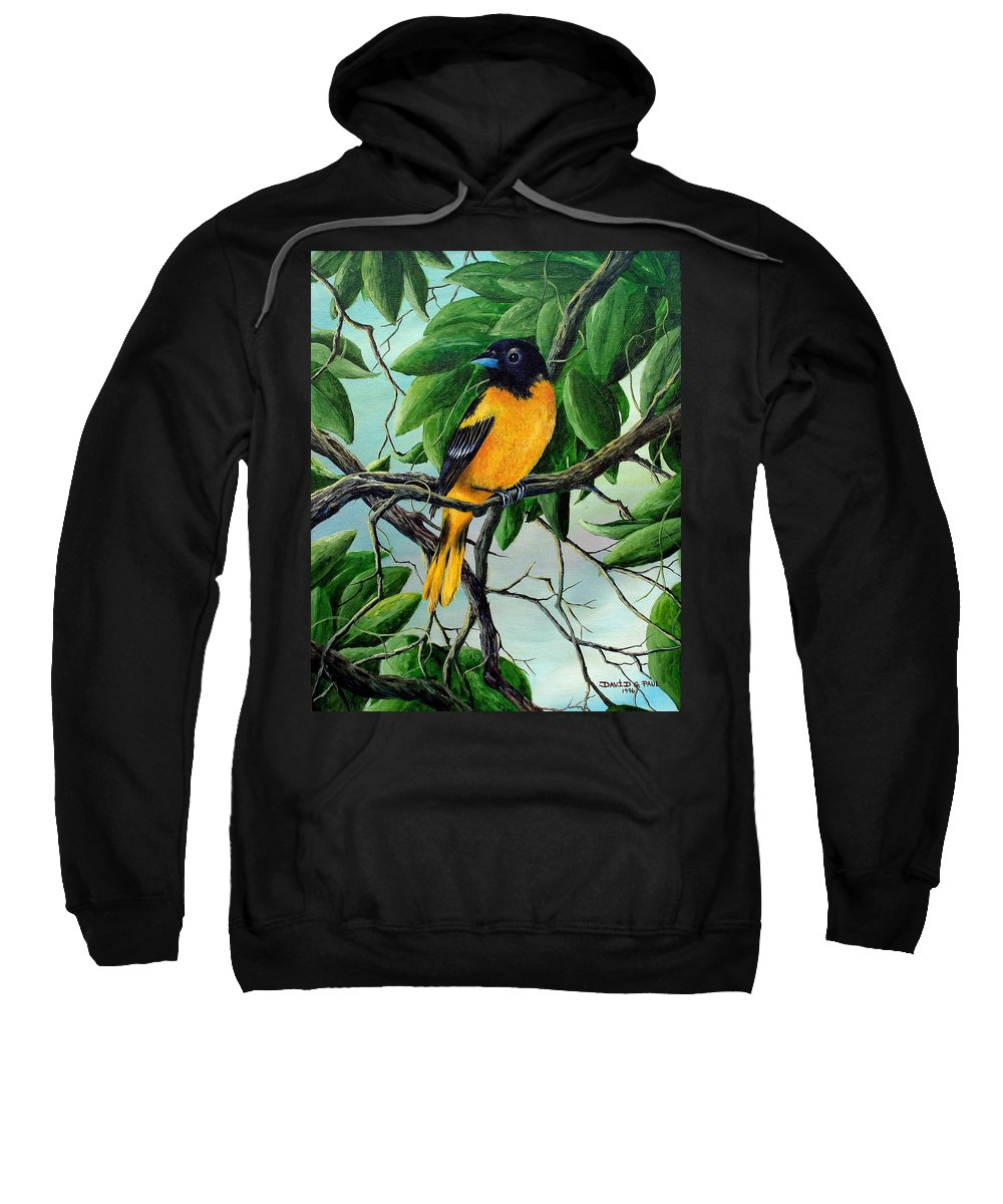 Oriole Sweatshirt featuring the painting Northern Oriole by David G Paul