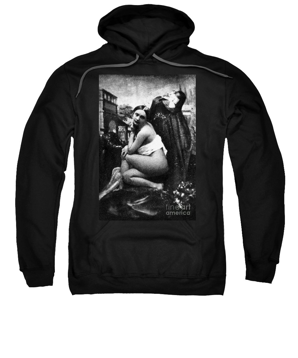 1843 Sweatshirt featuring the photograph Nude Posing, C1843 by Granger