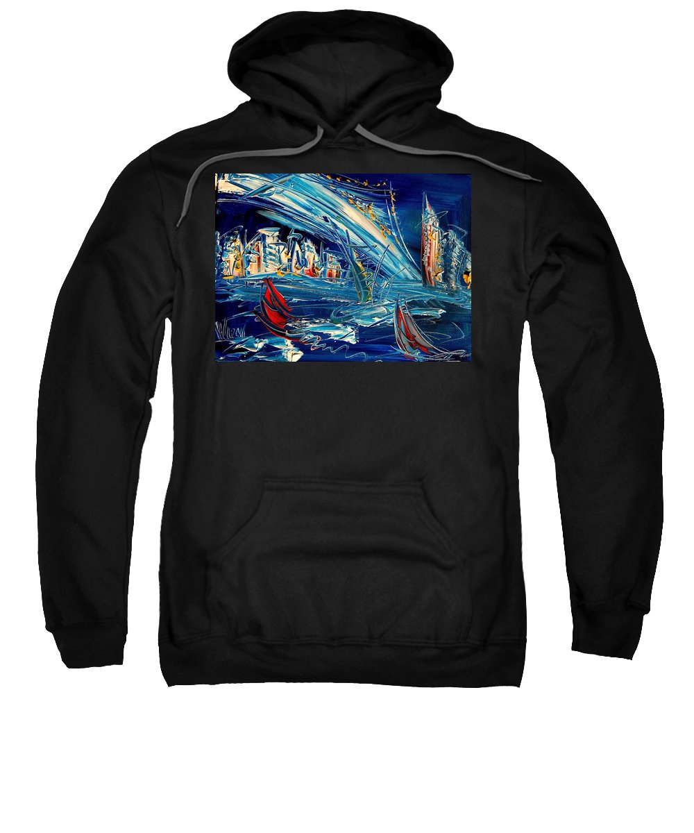 Sweatshirt featuring the painting Nycity Blue by Mark Kazav