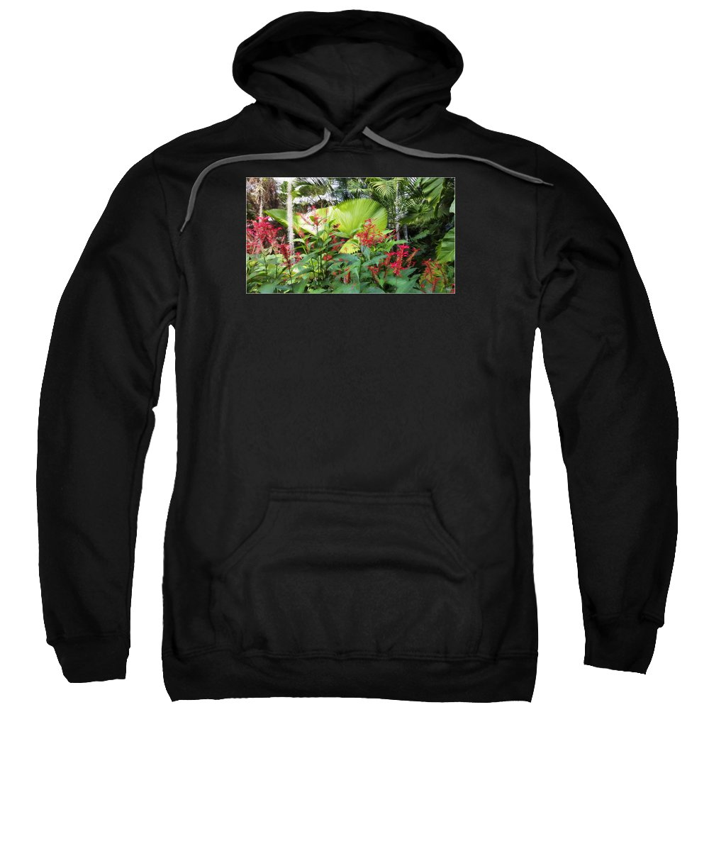 Floral Sweatshirt featuring the digital art Oasis Jungle by Edier C