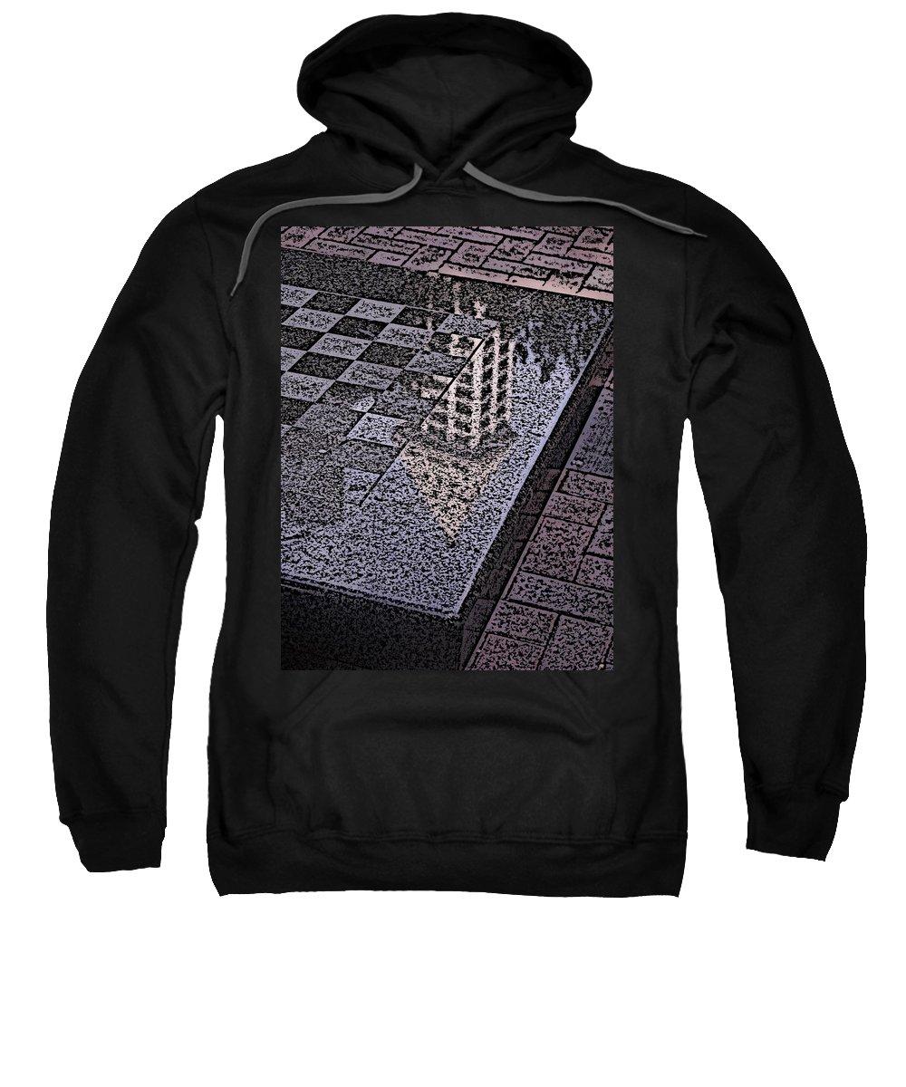 Seattle Sweatshirt featuring the digital art Occidental Park Checkerboard by Tim Allen