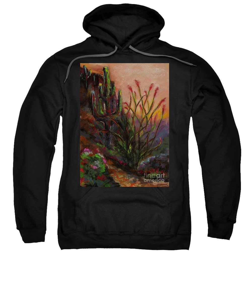 Cactus At Sunset Sweatshirt featuring the painting Ocotillo At Sunset by Frances Marino